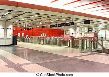 είσοδοs , από , ένα , σιδηροδρομικόs σταθμόs
