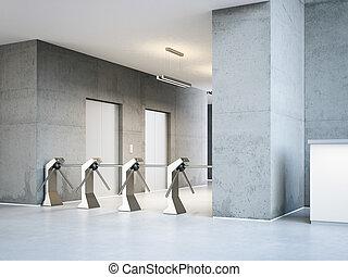 είσοδοs , γραφείο , περιστροφική θύρα ή πύλη , μοντέρνος , απόδοση , αναπτύσσω. , 3d