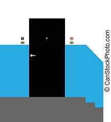 είσοδοs , πόρτα , illustration., μέταλλο , μικροβιοφορέας , απ' έξω. , apartment., βλέπω