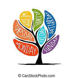 εβδομάδα , τέχνη , 7petal, δέντρο , ημέρες , σχεδιάζω
