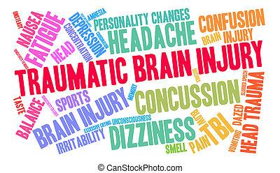 εγκέφαλοs , βλάβη , λέξη , σύνεφο , τραυματικός