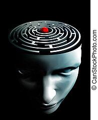 εγκέφαλοs , κόκκινο , κέντρο , ανθρώπινος , λαβύρινθος