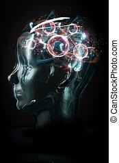 εγκέφαλοs , cyborg , ατομικό μόριο