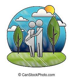 εγκυμοσύνη , γονείς , ζευγάρι , πάρκο , pictogram