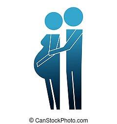 εγκυμοσύνη , ζευγάρι , γονείς , απεικονίζω σε σιλουέτα