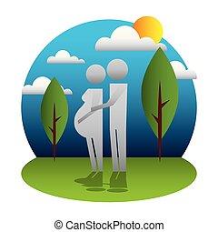 εγκυμοσύνη , ζευγάρι , γονείς , απεικονίζω σε σιλουέτα , τοπίο