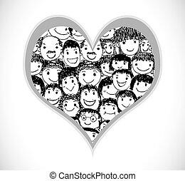 εγώ , αγάπη , άνθρωποι , καρδιά , από , άνθρωποι