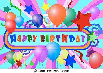 εδάφιο, γενέθλια, μπαλόνι, ευτυχισμένος