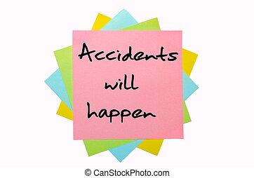 """εδάφιο , """"accidents, διαθήκη , happen"""", γραμμένος , από , χέρι , κολυμβύθρα , επάνω , ανθοδέσμη από , έγχρωμος , γλοιώδης βλέπω"""