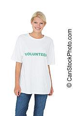 εθελοντής , πορτραίτο , γυναίκα , χαμογελαστά , νέος