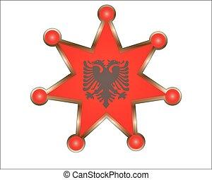 εθνικός , αλβανία , μετάλλιο , σημαία