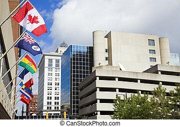εθνικός , σημαίες , μέσα , κάτω στην πόλη , από , μεγαλειώδης , καταρράκτης