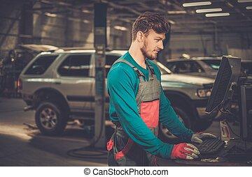 ειδικός , κοντά , αυτοκίνητο , διαγνωστικός , pc , μέσα , ένα , συνεργείο
