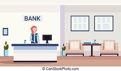 ειδικός , προστρέχω , μετρητής , οικονομικός , δωμάτιο , γραφείο , διαμέρισμα , μοντέρνος , γυναίκα , αναμονή , υποδοχή , εσωτερικός , οριζόντιος , τράπεζα , κέντρο