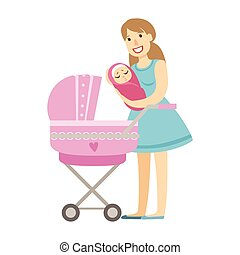 ειδών ή πραγμάτων , σειρά , νέος , εικόνα , ακουμπώ , μαμά , βρέφος stroller , ευτυχισμένος , τρυφερός