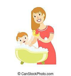 ειδών ή πραγμάτων , χορήγηση , σειρά , υιόs , νέος , εικόνα , μπάνιο , μητέρα , μωρό , ευτυχισμένος , τρυφερός