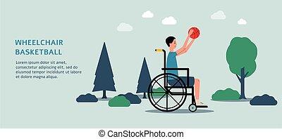 εικόνα , άντραs , μικροβιοφορέας , παίξιμο , αναπηρική καρέκλα , basketball.