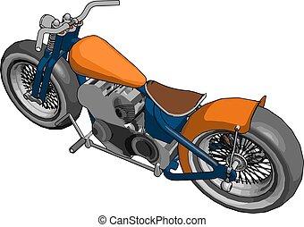 εικόνα , άσπρο , μικροβιοφορέας , φόντο. , πορτοκάλι , μοτοσικλέτα
