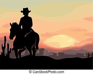 εικόνα , αγελαδάρης , ηλιοβασίλεμα , άντραs , άλογο , αγαπητέ μου δύση