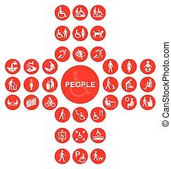εικόνα , αναπηρία , κόκκινο , συλλογή , άνθρωποι