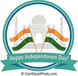 εικόνα , από , κυματιστός , ινδός , σημαίες , με , μνημείο , ανεξαρτησία εικοσιτετράωρο