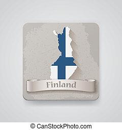 εικόνα , από , φινλανδία , χάρτηs , με , flag.,...