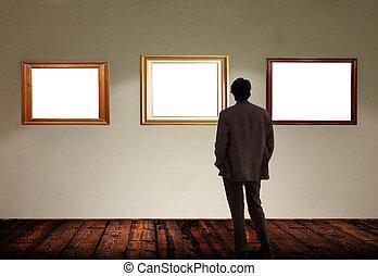 εικόνα , δωμάτιο , ατενίζω , αποτελώ το πλαίσιο , γκαλερί , αδειάζω , άντραs