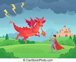 εικόνα , ιππότης , αγώνας , κακό , γελοιογραφία , τέρας , μάχη , fairytale , dragon., δράκοντας , μικροβιοφορέας , μάχη , ήρωας , μεσαιονικός , θρύλος , swordsman