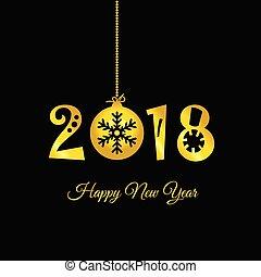 εικόνα , μαύρο , 2018, έτος , καινούργιος , ευτυχισμένος