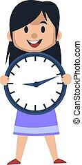εικόνα , μεγάλος , ρολόι , φόντο. , μικροβιοφορέας , κορίτσι , άσπρο