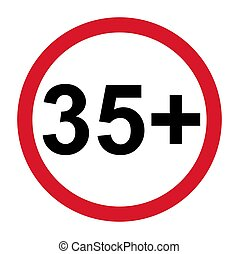 εικόνα , πέντε , περιορισμός , απομονωμένος , σήμα , φόντο. , τριάντα , ηλικία , όριο , χρόνια , παραγγελία , όχι , κάτω από , 35+, διαμέρισμα , άσπρο , σύμβολο.
