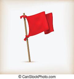 εικόνα , ρεαλιστικός , σημαία , μικροβιοφορέας , icon., κόκκινο
