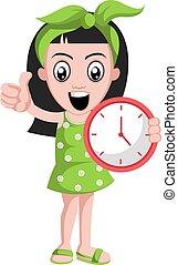 εικόνα , ρολόι , φόντο. , μικροβιοφορέας , κορίτσι , άσπρο