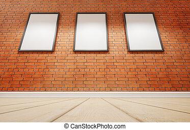 εικόνα , τρία , wall., απόδοση , στούντιο , τούβλο , 3d