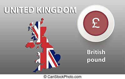 εικόνα , χάρτηs , από , μεγάλη βρετανία , ο , κουμπί , με ,...