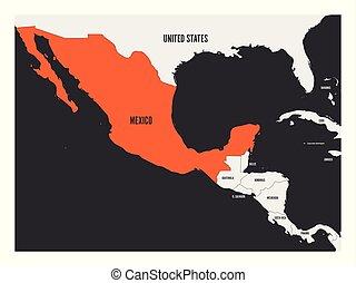 εικόνα , χάρτηs , κεντρικός mexico , απλό , πολιτικός , διαμέρισμα , america., μικροβιοφορέας , σημάδεψα , πορτοκάλι