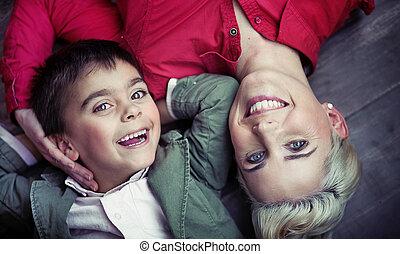 εικόνα , όμορφη , οικογένεια , ευτυχισμένος