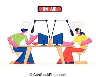 εικόνα , headset , πρόγραμμα , dj , γράμμα , άνθρωποι , μέσα ενημέρωσης , concept., επικοινωνώ , διαμέρισμα , αέραs , εκφώνηση , μικροβιοφορέας , ραδιόφωνο , listeners., γυναίκα , κοινωνικός , αρσενικό , γελοιογραφία , μικρόφωνο , μιλώ