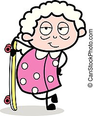 εικόνα , skateboard , ακάθιστος , μικροβιοφορέας , γιαγιά , - , γριά , γελοιογραφία