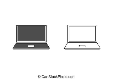 εικόνα , vector., μηχάνημα , θέτω , ακολουθία. , γραμμή , laptop