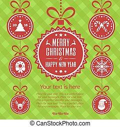 εικόνα , year., μικροβιοφορέας , κάρτα , εύθυμος , καινούργιος , εορτασμόs , xριστούγεννα , ball., ευτυχισμένος