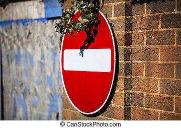 εις , γενική ιδέα , σήμα , security., κυκλοφορία , δρόμος , αναχωρώ , wall., στρογγυλός