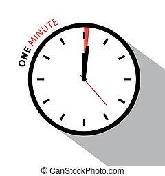 εις , ρολόι , απομονωμένος , clock., ζεσεεδ , φόντο. , μικροβιοφορέας , χρονόμετρο , άσπρο , countdown., λεπτό