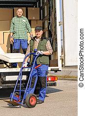 εισηγητής , δυο , άντραs , φόρτωση , έπιπλα , επάνω , φορτηγό