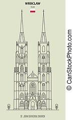 εκκλησία , καθεδρικόs ναόs , διακριτικό σημείο , γιάννηs , wroclaw, εικόνα , poland., st.