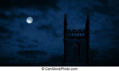 εκκλησία , τη νύκτα , με , πανσέληνος