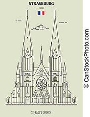 εκκλησία , paul's , εικόνα , στρασβούργο , διακριτικό σημείο , france., st.