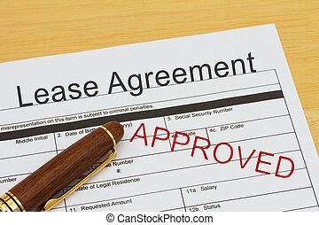 εκμίσθωση , εφαρμοσμένος , συμφωνία , ενέκρινα