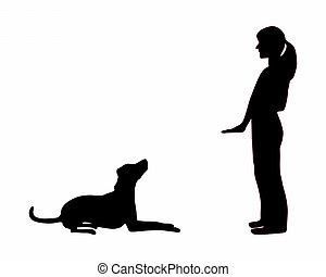 εκπαίδευση , κάθομαι , σκύλοs , κάτω , (obedience):, διαταγή...