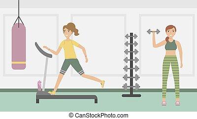 εκπαίδευση , lifestyle., υγιεινός , club., τρέξιμο , αίρω , καταλληλότητα , κορίτσι , ποδόμυλος , dumbbell.